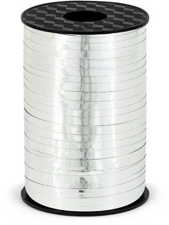 Wstążka plastikowa metalizowana do balonów srebrna 5mm 225m PRM5-018