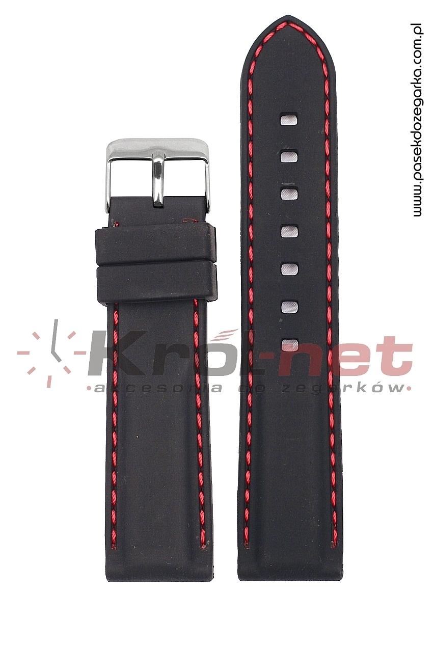 Pasek RP051/CZ/24 - czarny, czerwone przeszycia