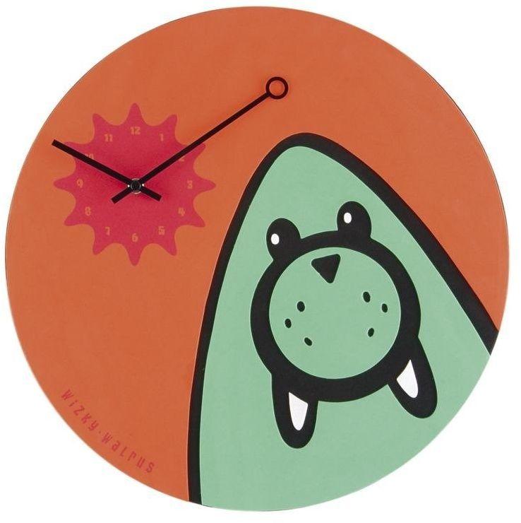 Nextime - zegar ścienny wizky walrus - pomarańczowy