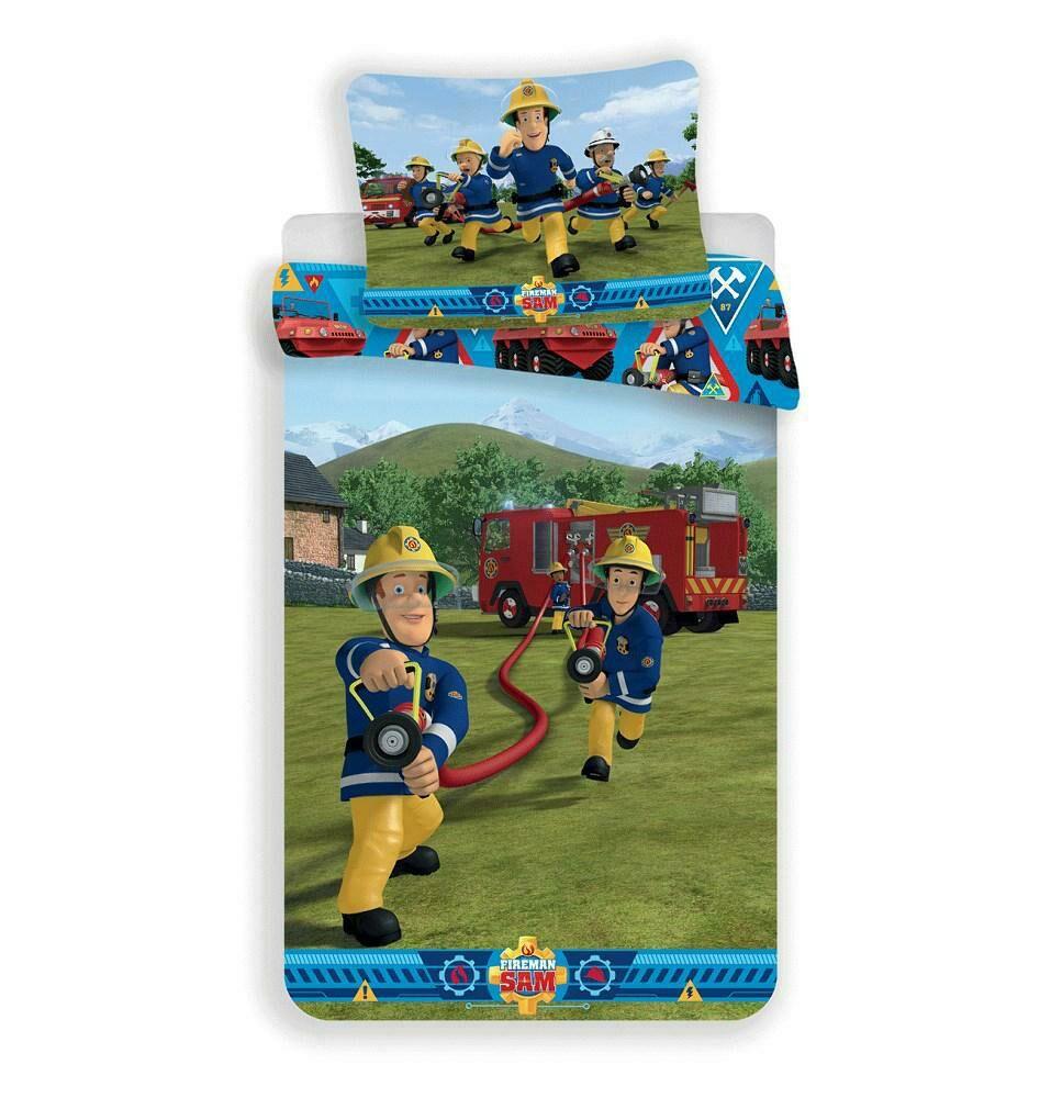 Pościel bawełniana 140x200 Strażak Sam 0563 wóż strażacki poszewka 70x90