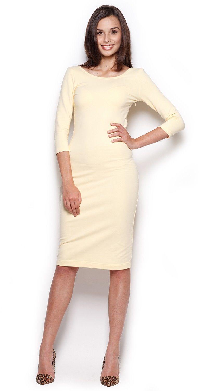Midi sukienka z rękawem 3/4- żółta