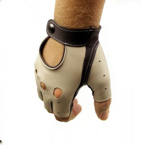 Męskie rękawiczki samochodowe bez palców - kremowo-brązowe