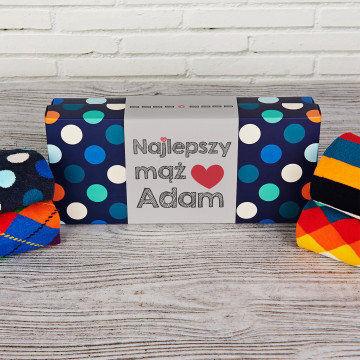 Najlepszy mąż - Happy Socks - Dots - Zestaw 4 par skarpet męskich
