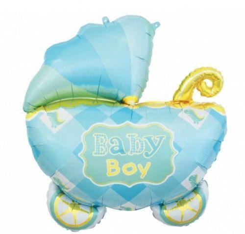 Balon foliowy Wózek niebieski Baby Boy