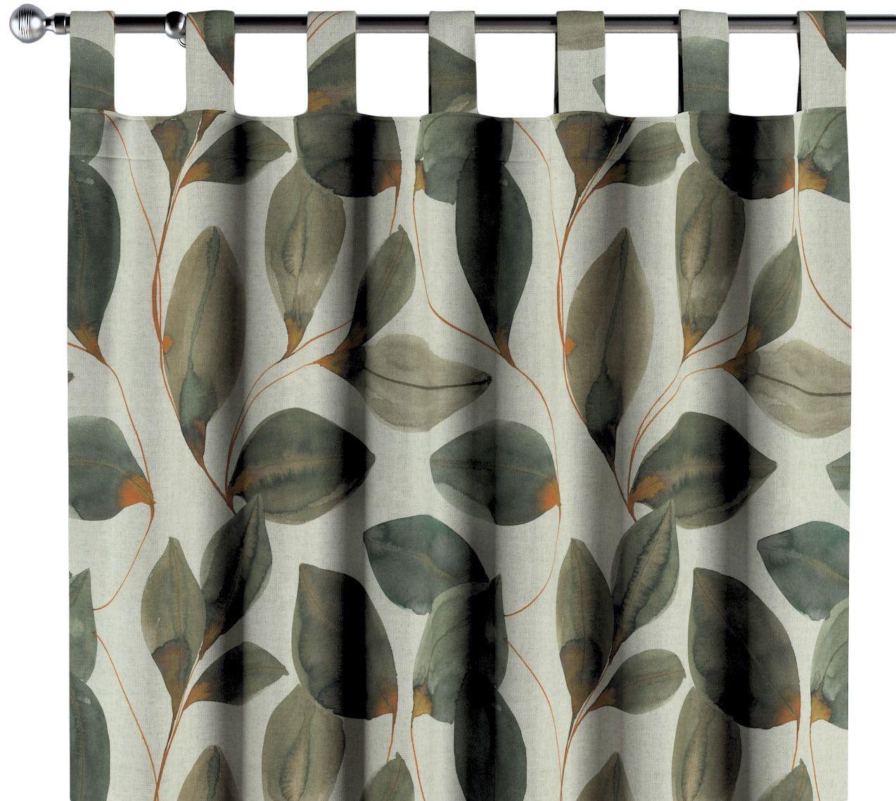 Zasłona na szelkach 1 szt., brązowo-pomarańczowe liście na szarym lnianym tle, 1szt 130  260 cm, Abigail