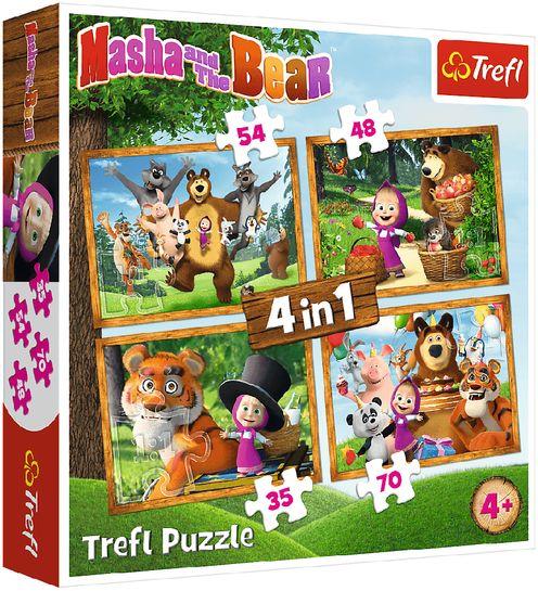 Puzzle 4w1. Leśne przygody Maszy