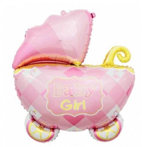 Balon foliowy Wózek różowy Baby Girl