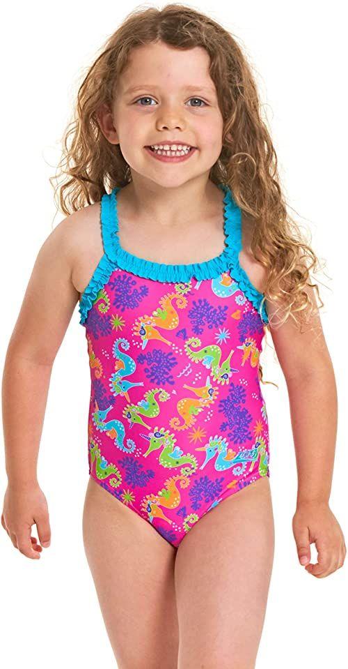Zoggs dziewczęcy falbanka X tył jednoczęściowy strój kąpielowy Pink/Multi 6 Years