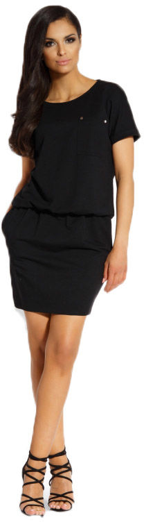 L201 Luźna sukienka czarny