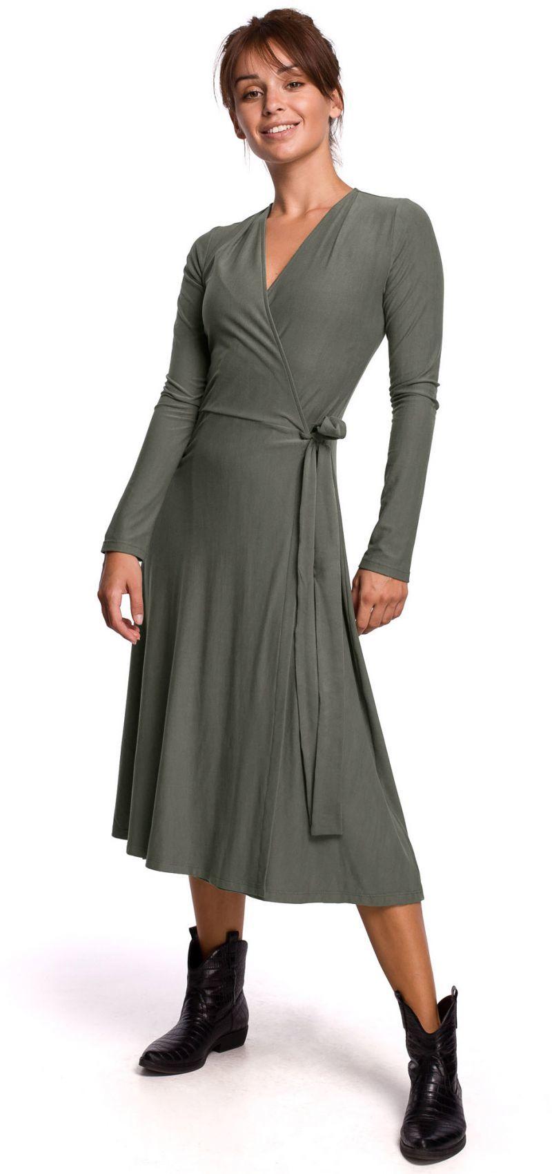 B184 Sukienka kopertowa z wiązaniem - khaki