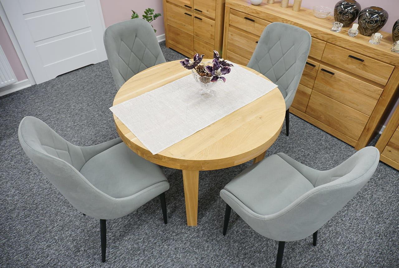 Krzesło tapicerowane LIVI ozdobne przeszycia nogi metalowe lub dębowe kolory