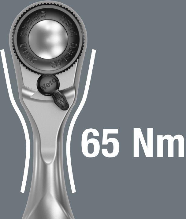 """Klucz Zyklop Mini 3 z grzechotką i zabierakiem na kwadrat 1/4"""", 60 zębów, 87mm, 8008 A Wera [05003793001]"""