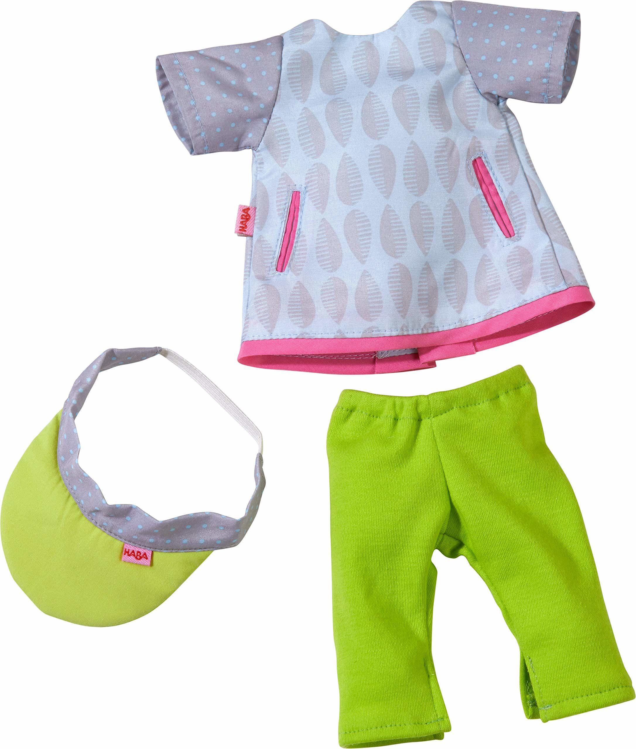 HABA 305536  zestaw odzieży do uprawiania sportu, zestaw składający się z sukienki, legginsów i czapki z daszkiem, akcesoria dla lalek o wielkości 32 cm, zabawka dla dzieci od 18 miesięcy