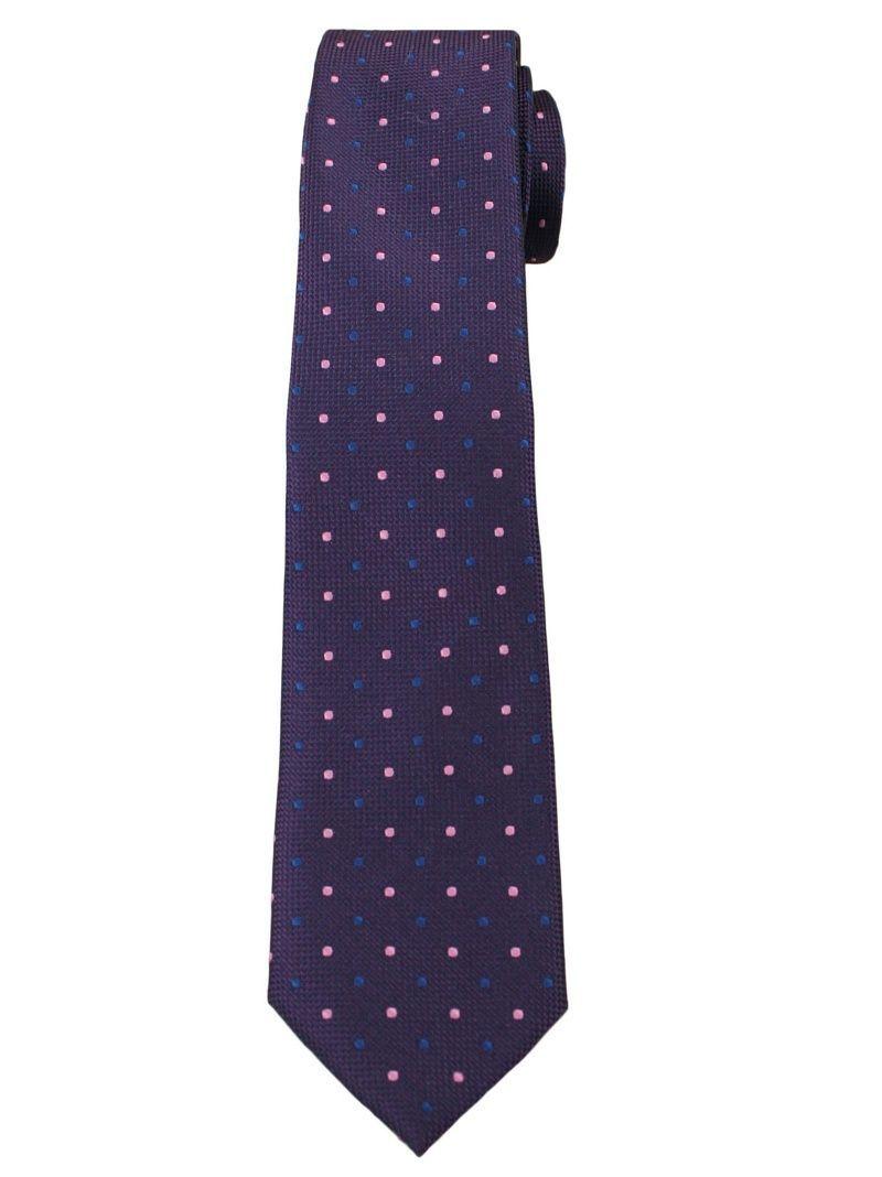 Fioletowy Elegancki Krawat Męski -ALTIES- 6 cm, w Niebiesko-Różowe Kropki KRALTS0256
