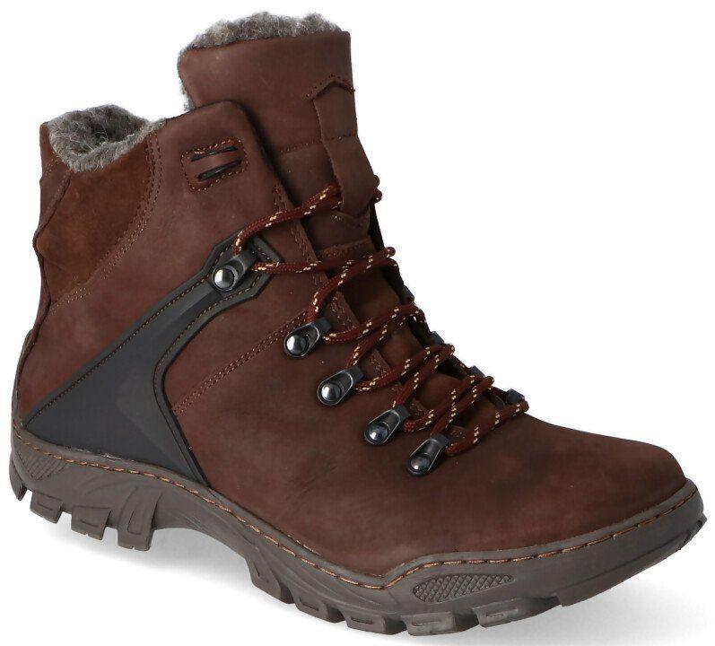 KENT 119 BRĄZOWE - Wysokie buty zimowe, naturalne futro - Brązowy