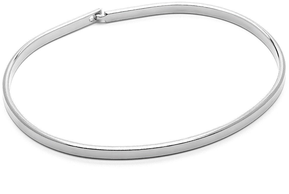 Męska błyszcząca sztywna bransoletka, srebro 925 : Kolor pokrycia srebra - Pokrycie platyną, Sztywne bransoletki - męski rozmiar - XL - 22 CM