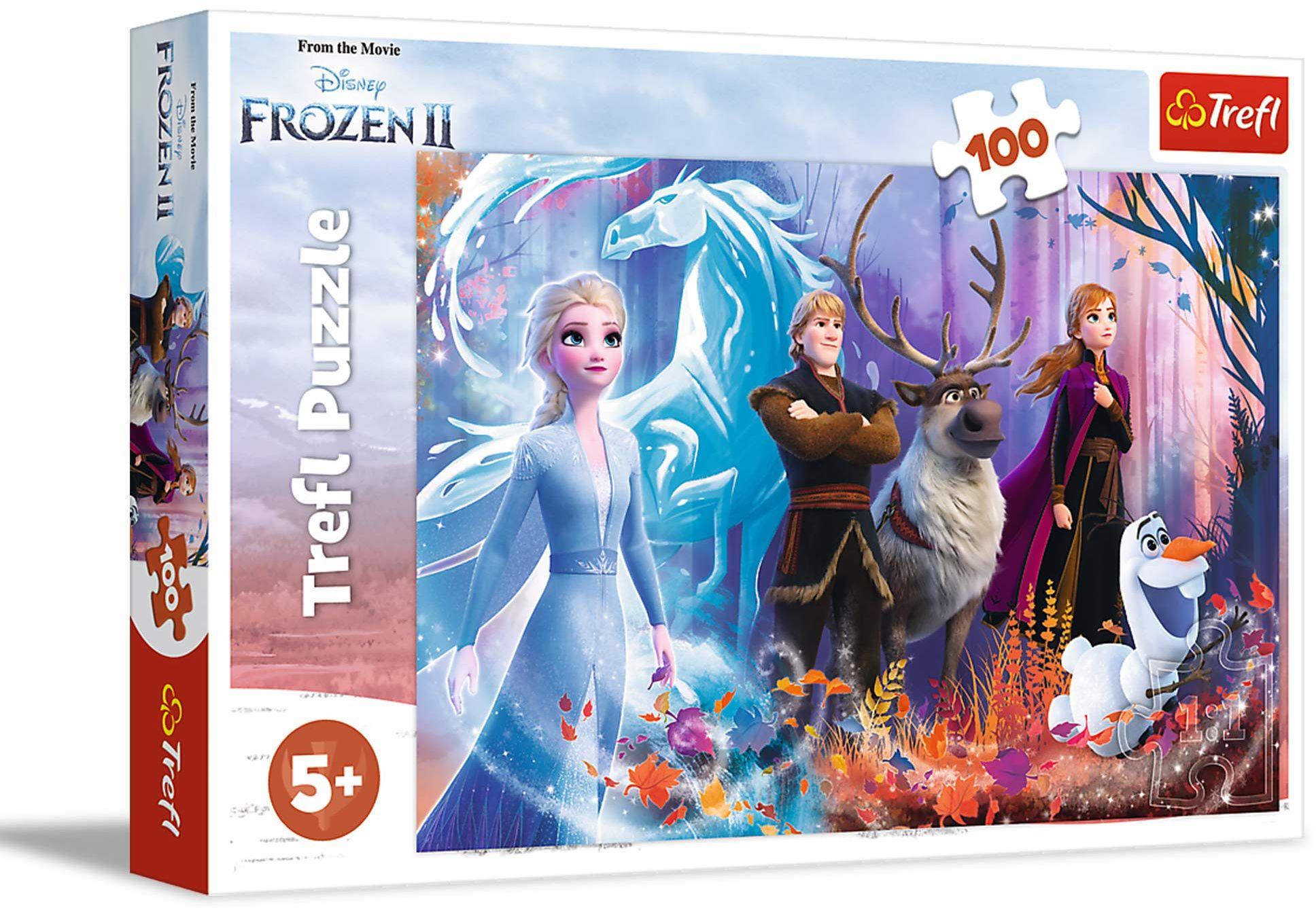 Trefl Magia Krainy Lodu Puzzle 100 Elementów Frozen 2 o Wysokiej Jakości Nadruku dla Dzieci od 5 lat