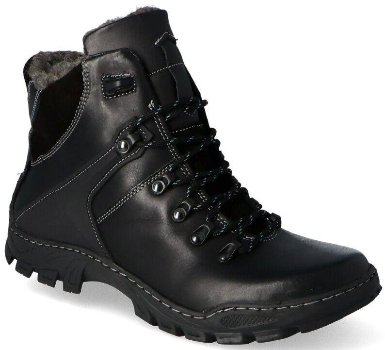 KENT 119 CZARNE - Wysokie buty zimowe, naturalne futro - Czarny