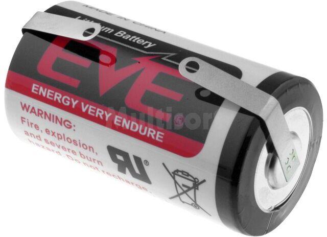 Bateria litowa 3,6V EVE D blaszki lutownicze fi32,9x61,5mm
