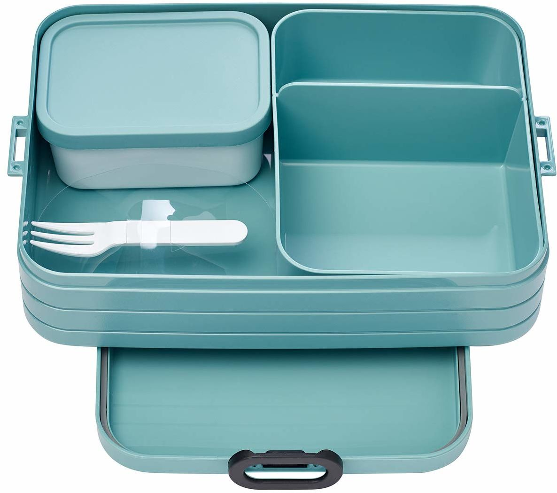 Mepal Bento-Lunchbox Pojemnik na Kanapki z Przegródkami, Zielony, 25.4 x 17.8 x 6.6 cm