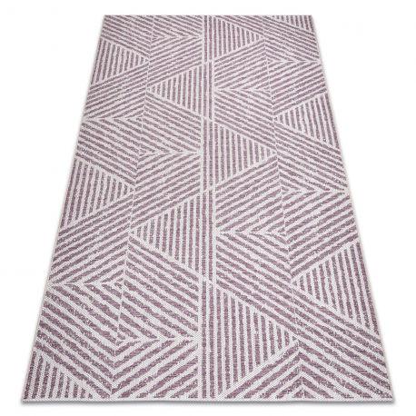 Dywan Sznurkowy SIZAL COLOR 47176260 Linie, trójkąty, zygzak beż / brudny róż 60x110 cm