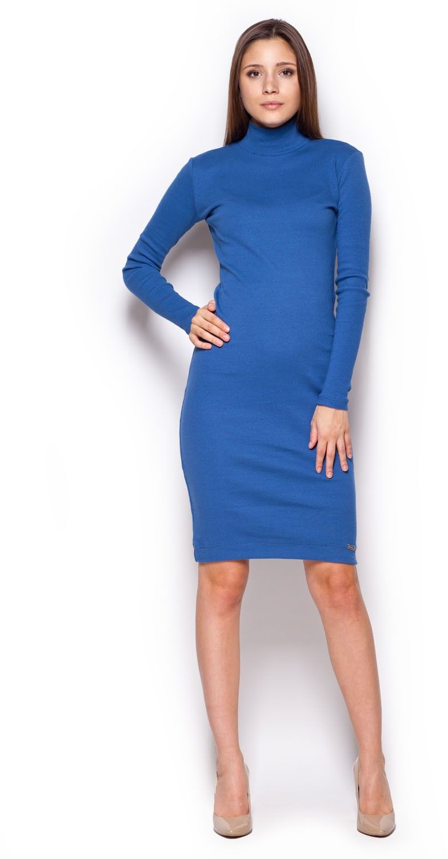 Niebieska casualowa prążkowana sukienka z golfem
