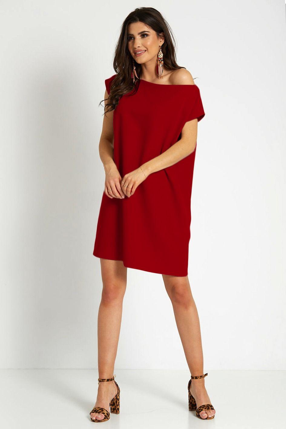 Krótka sukienka z łódkowym dekoltem - bordowa