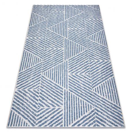 Dywan Sznurkowy SIZAL COLOR 47176360 Linie, trójkąty, zygzak beż / niebieski 60x110 cm