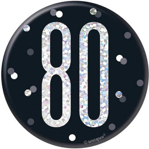 Kotylion na osiemdziesiąte urodziny czarny - 1 szt.