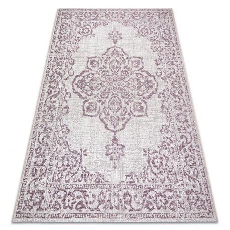 Dywan Sznurkowy SIZAL COLOR 47295260 Ornament, ramka beż / brudny róż 60x110 cm