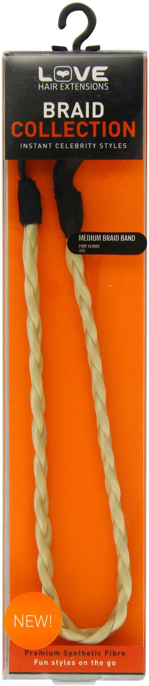 Love Hair Extensions średni warkocz (pleciona opaska na włosy) kolor 60 - przezroczysty blond, 1 opakowanie (1 x 1 sztuka)