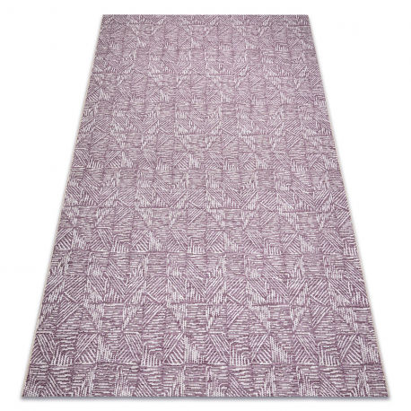 Dywan Sznurkowy SIZAL COLOR 47373260 Linie, trójkąty, jodełka - śliwka / beż 60x110 cm