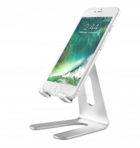 Stojak aluminiowy na telefon srebrny