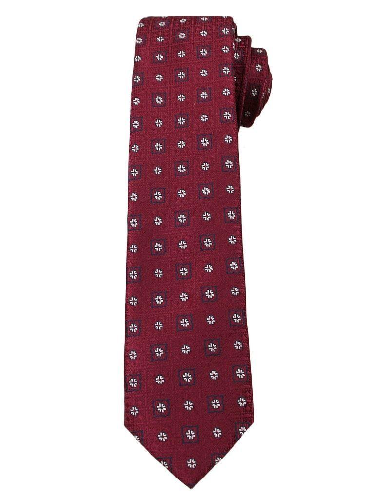 Bordowy Elegancki Krawat Męski w Małe Kwiatki -ALTIES- 6 cm, Motyw Florystyczny KRALTS0255