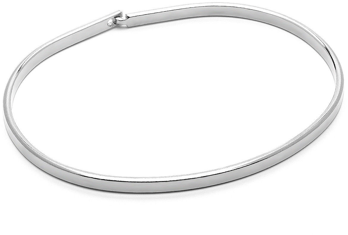 Męska błyszcząca sztywna bransoletka, srebro 925 : Kolor pokrycia srebra - Pokrycie platyną, Sztywne bransoletki - męski rozmiar - M/L - 20 CM