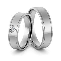 Obrączki srebrne z sercem i cyrkoniami swarovski - wzór Ag-364