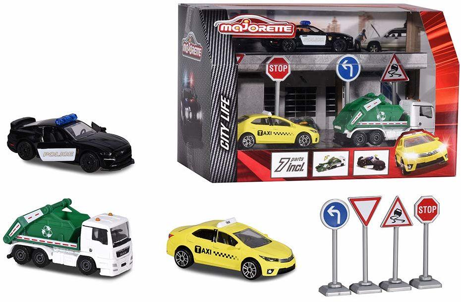 Majorette 212058594 City Playset zestaw zabaw, Diorama, Pojazdy Die-Cast, 3 samochody do zabawy + akcesoria, zestaw prezentowy, zestaw miasto, wielokolorowy