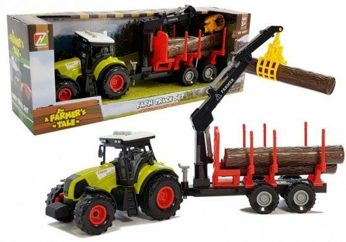 Traktor z Przyczepą leśną z Drewnem i Ramieniem