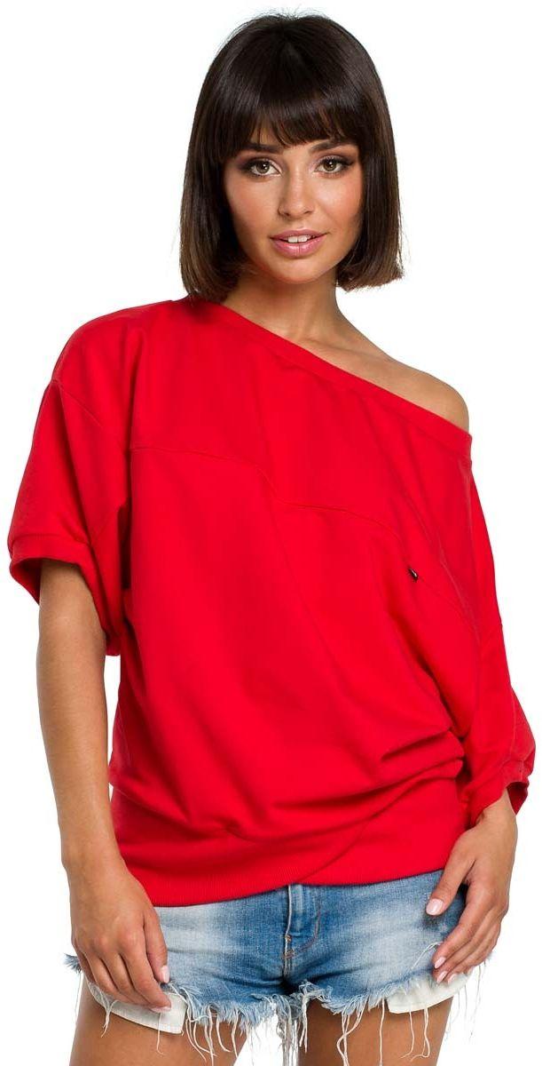 Czerwona bluzka z zakładanym kopertowo ściągaczem
