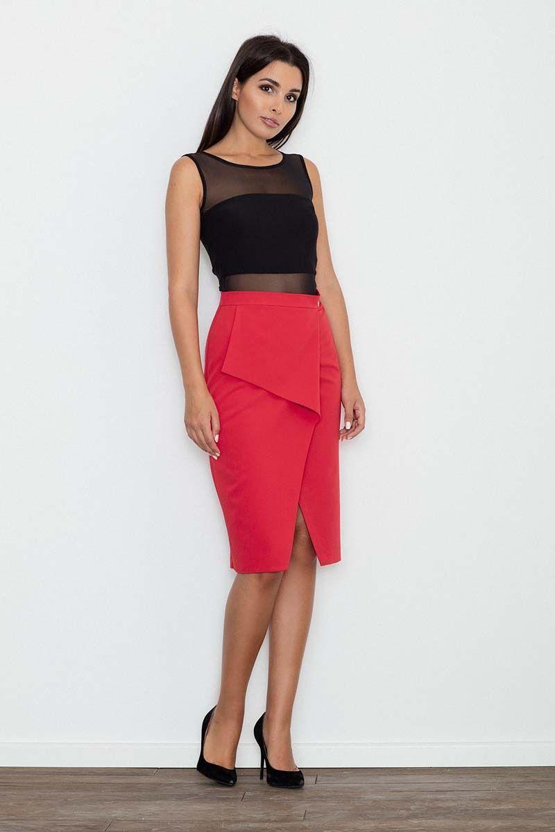 Czerwona spódnica ołówkowa midi z kopertowym założeniem