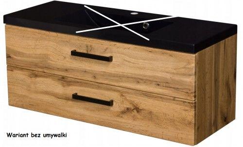 Szafka łazienkowa kolor dąb 100cm z czarnym blatem, BEZ umywalki, Styl Loftowy, Gante Fokus Loft