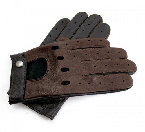 Męskie rękawiczki do prowadzenia samochodu - czarno-brązowe