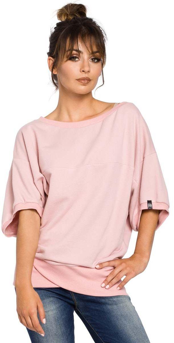 Oversizowa pudrowa bluza ze ściągaczem na zakładkę