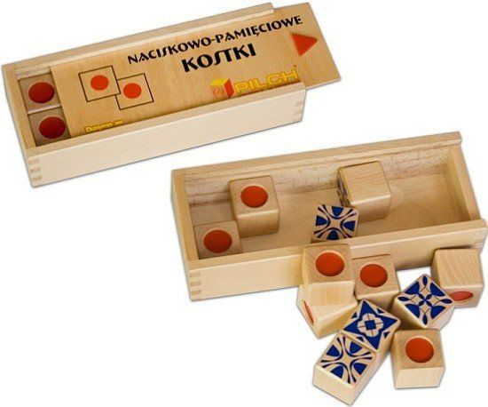 Kostki drewniane, nacisk-pamięć, 210013-Pilch, zabawki edukacyjne