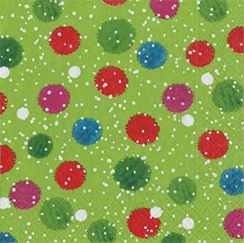 Caspari Zabawne serwetki obiadowe z zaśnieżonym pomponem bałwanem, zielone, 20 sztuk, papier, 16,5 x 3 x 16,5 cm
