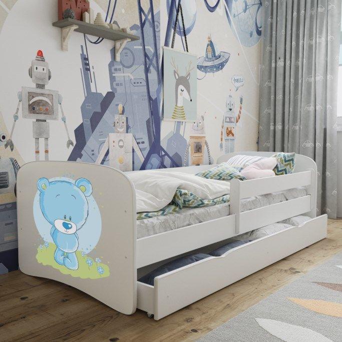 Łóżko dziecięce BABY DREAMS niebieski miś 140x70