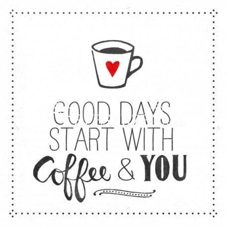 SERWETKI PAPIEROWE - Good Days starts with Coffee & You - białe