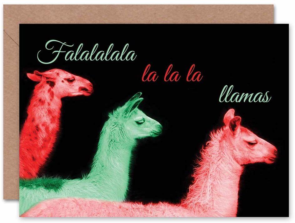 """Wee Blue Coo Kartka bożonarodzeniowa z napisem """"Merry Llama Carol"""", zabawny prezent, zapieczętowana, w zestawie koperta, wewnątrz bez napisu"""