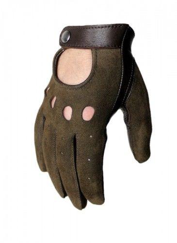 Rękawiczki samochodowe, welurowo-licowe brązowe