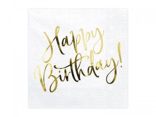 Serwetki urodzinowe Happy Birthday, GOLD